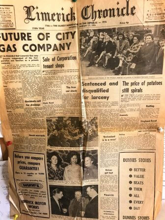 The Limerick Chronicle 1976 Front Page